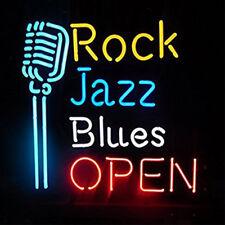 "Rock Jazz Blues Open Microphone Neon Sign Light KTV Beer Bar Pub Decor17""x14"""