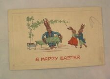 1915 Embossed Easter Postcard - 2 Rabbits Dancing, Rabbit Playing the Button Box