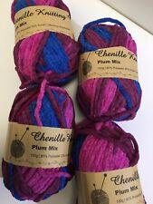 6 X Winter Chenille Multi Colour Knitting Yarn Crochet Acrylic Craft Yarn 100g