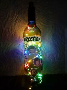 ONE DIRECTION HAND MADE WINE BOTTLE NIGHT LIGHT BATTERY OPERATED