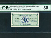 Belgium:P-M1a,1 Franc 1946 * Military Issue * ARMEE * A * PMG AU 55 *