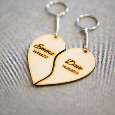 Personalised Keychain Heart Two Piece Valentines Wooden Keyring Love His Her