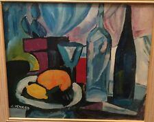 CLAUDE VENARD (1913-1999)- COLORFUL POST-CUBIST STILL LIFE- OIL ON PANEL