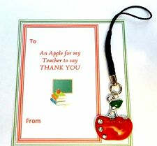 Apple for Teacher Phone Charm Thank You Gift for End Term Gift card in gift bag