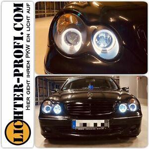 Led Angel Eyes Scheinwerfer schwarz für Mercedes Benz C-Klasse W203 BJ 00-07 Neu