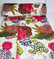 Indian Handmade Kantha Quilt Throw Reversible Bedspread White Ethnic Vintage New