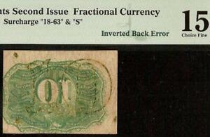 INVERTED BACK ERROR 10 CENT FRACTIONAL CURRENCY NOTE PAPER MONEY Fr 1246 PMG 15