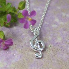 Treble clef amante de la música plateado plata collar