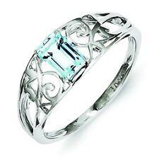.925 Sterling Silver Polished Genuine Sky Blue Topaz Swirl Design Band Ring Sz 8