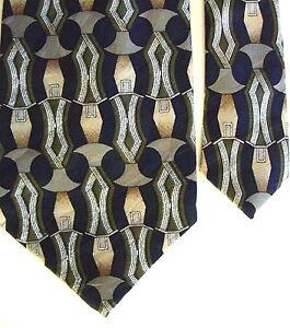 "Puritan Men's Poly Geometric Neck Tie Navy Blue Multi Classic 3 3/4"" x 58"""