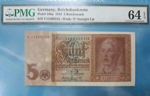 1942 Germany 5 Reichmark PMG64 EPQ UNC <P-186a>