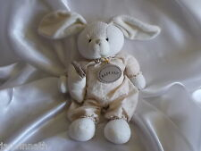 Doudou lapin tricot et tissu, beige, écru,  Baby Nat, (Babynat)