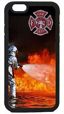 Case Cover for iPhone 4 4s 5 5s 5c 6 6 Plus Firefighter Fireman in Flames Rescue