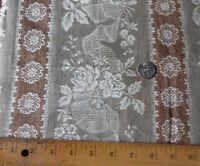 """Antique French Roses & Lace Cotton Jacquard Tan-Grey Ticking Fabric~L-35""""X W-39"""""""