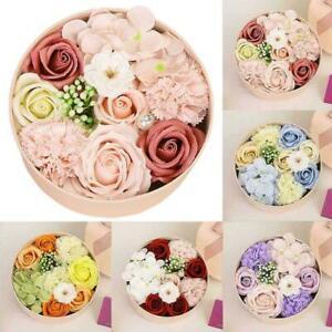 Luxury Handmade Soap Flower Bouquet Roses Carnations Box Home Gift Wedding R7M3