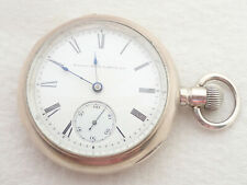 ANTIQUE 18S ELGIN HH TAYLOR GRADE 20 15 JEWEL 4 OUNCE COIN SILVER POCKET WATCH
