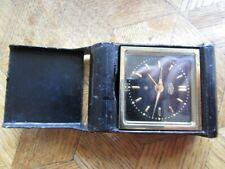 Vintage Gold plated ANGELUS Lilliput Black Dial 8 Days Alarm Clock. Cal. 240.