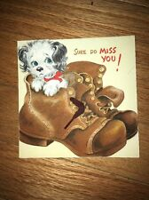Vintage Hallmark Card Miss You Die Cut Boots Puppy Real Shoestring