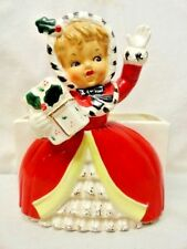 Vintage_Napco_Christmas_Shopper_Girl_Planter_Mica_Gold_Holly_Berry_Candy_Holder