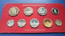1977 MALTA Proof Set of 9 Coins in Original Mint Sealed Pack