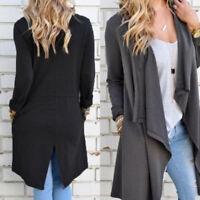 Women's Ladies Long Waterfall Coat Jacket Cardigan Knit Outwear Overcoat Jumper