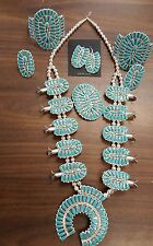 Navajo handmade sterling silver necklace set squash blossom Turquoise Native