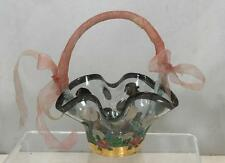 MACKENZIE CHILDS Signed Hand Painted Glass Sugar Bowl Basket - RARE