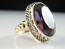 Amethyst Ring Vintage Estate 14K Two-Tone Gold White Yellow Fine Oval Size 5.5