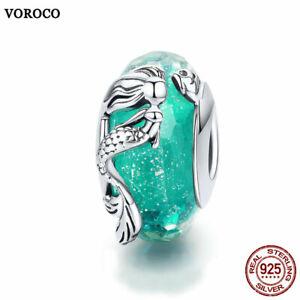 VOROCO Vintage 925 Sterling silver fashion Glass bead Mermaid charm fit bracelet