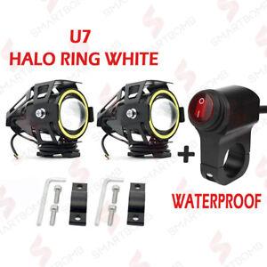 2x Zusatzscheinwerfer U7 Motorrad LED Eye weiß Nebelscheinwerfer + IP67 Taste