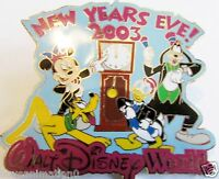 Disney WDW New Years Eve Mickey Mouse Donald Duck Goofy Pin