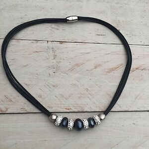 Halskette, Kette, Modekette,Collier, Glasperlen,Strassrondelle,Magnetverschluss