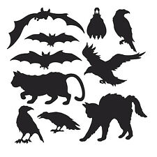 10 BLACK ANIMALS SILHOUETTES CUTOUTS HALLOWEEN PARTY DECORATIONS BATS CATS CROWS