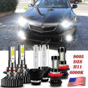 LED HID Headlight+Fog Light Bulb Kit For Acura TSX 2009 2010 2011 2012 2013 2014