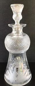 "Vintage Edinburgh Crystal Decanter 11 1/4"" Thistle Etched Glass Scotland"