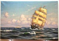 "SVEN DREWS SEASCAPE +""SQUARE-RIGGER SAILING SHIP ON OPEN SEA"" + OIL ON CANVAS +"