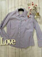 J Crew Size 16 blue pink cotton classic fit business career shirt work smart VGC