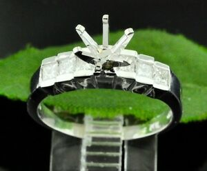 0.52 ct 14k Solid White Gold Ladies Semi Mount Diamond Ring setting Princess Cut
