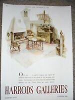 Harrods Galleries oak Jacobean style furniture art advert 1946 ref AL