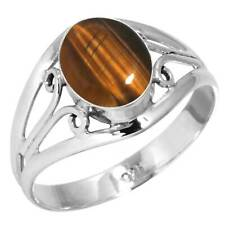 Natural Tiger Eye Ring 925 Sterling Silver Handmade Jewelry Size 12 Fi94663