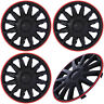 """4PC Set 14"""" inch ICE BLACK / RED TRIM Hub Caps for Steel Wheel Cover Cap Covers"""