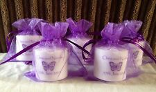 Personalised votive candles - Cadbury Purple scheme!