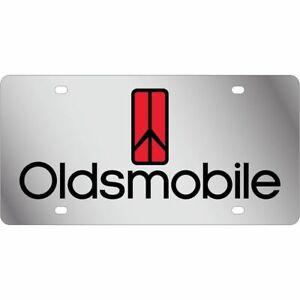 Stainless Steel Oldsmobile Black Red Logo Black License Plate Frame 3D Novelty