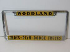 Rare Woodland Chrysler Plymouth Dodge License Plate Frame Embossed Holder Tag