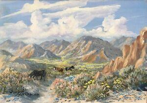 Wild Horses on the Desert Original Oil painting By Irene Livermore