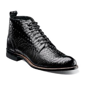 Men Stacy Adams Madison Ankle Boot High Top Anaconda Print Leather 00057 Black