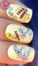 NAIL ART WRAPS ACQUA Trasferimenti Adesivi decalcomanie Set BUGS BUNNY & TWEETY TORTA # 522