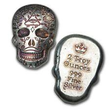 2 oz 999 Fine Silver Bullion MPM Day Of The Dead Sugar Skull - All Seeing Eye