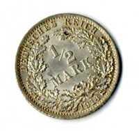 Moneda Alemania Imperio alemán medio marco 1914 A plata .900 silver coin mark