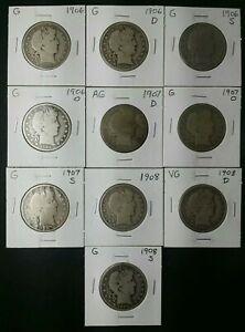 Lot of 10 50c Barber Silver Half Dollars